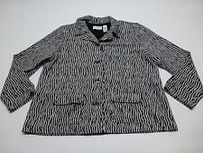 Alfred Dunner Womens Size 20 Black & White Knit Zebra Print Jacket New