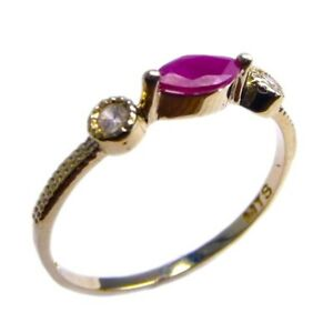 Woman ring 14K Gold Ruby Stone White Zircons Fine Jewelry Gemstons Gift Rings