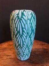 Tall Green Blue Vase Retro Style Ceramic Flower Geometric Vintage Print Pattern
