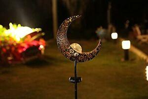"40""H Solar Moon Garden Lights Crackle Glass Globe Moon Metal Yard Stake LightsW"