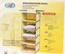 "Hanging 5 Shelf Wardrobe Storage Clothing Shelves Closet Organizer 12""x12""x40"""