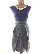 Prairie New York Dress M Ponte Blue Herringbone Wool Skirt Chunky Necklace Work