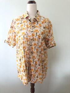 Barabas Men's Orange Floral Printed Button Down Short Sleeve Size L Linen Shirt