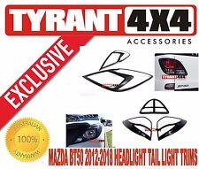 Mazda BT50 XT XTR GT Black Headlight Tail Light Trims Headlamp Surrounds Cover