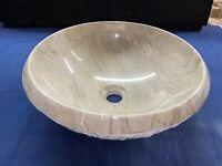 """16"""" Sahara Beige Marble Bathroom Vessel Sink chiseled outside - As-Is 0030"""