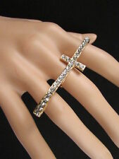 One Size Religious Bling Fashion Rhinestones Women Gold Ring Long Cross Metal