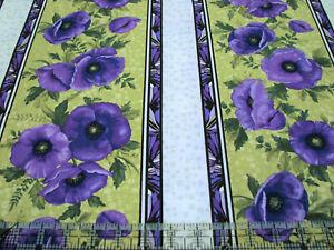 3 Yards Quilt Cotton Fabric - Benartex Ann Lance Midnight Poppies Large Stripe