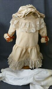 LARGE DRESS, UNDERWEAR & HAT FOR ANTIQUE DOLL, DOLL CLOTHING, DOLL OUTFIT