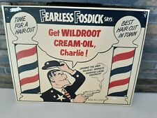 Vintage Wildroot Cream-Oil BARBER SHOP Fearless Fosdick Paperboard Sign