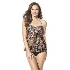 New Merona Leopard Flowy Flyaway Babydoll Halter Tankini Swimsuit TOP Sz Small