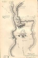 GUERRA D'INDIPENDENZA SPAGNOLA Mappa/piano di battaglia BATTAGLIA ~ Combattimento di rorica inglese francese (1808)