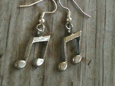 Large Eighth Note Silver Plated Lead Free Pewter Music Earrings