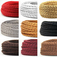3core Twisted Cable Flex Silk Braided Vintage Fabric Colored Lighting 0.75mm UK
