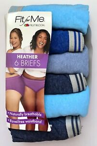 Women's Fruit of the Loom 'Fit for Me' 6pk Heather Briefs—  Choose Size