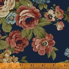 Windham Kensington FLANNEL Navy Blue Pink Green Floral Rose Quilt Fabric Yard