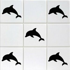 12 x Dolphin Tile Transfers To Fit 6 Inch Tiles Bathroom Wall Sign Decal Vinyl S