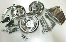 Sb Chevy Long Water Pump Pulley Kit W/ Brackets 350 383 V8 Sbc Chrome Steel Kit