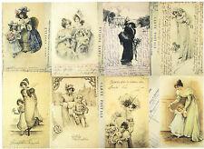 A/4 hoja de papel de Scrapbook Decoupage Clásico Vintage Antiguo Postales de invierno