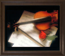 Violin & Music Sheet Red Rose Flower Wall Decor Brown Rust Framed Picture 19x23