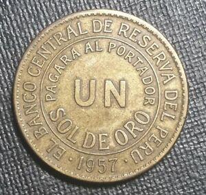 Peru 1 Sol de Oro 1957 Large Brass coin
