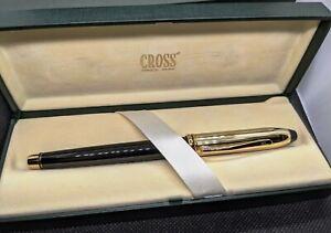 Cross Townsend Black Laquer & GF Cap Fountain Pen Nib Gold 14K Fine