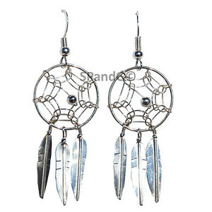 St. Silver Handcrafted Navajo Jewelry Dreamcatcher Earrings Center Silver Bead
