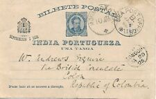 To/From - 1895 - Portuguese India ; Stationery Card to Colombia