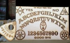 Wooden Ouija Board & Planchette With Aleister Crowley Symbols Engraved On Wood
