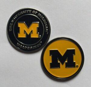 NEW NCAA University of Michigan Wolverines 2 sided Golf Ball Marker