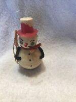 Vintage Spun Cotton/Chenille Snowman Christmas Ornament Japan (G102)