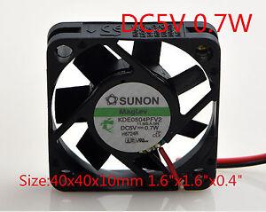 "SUNON Cooling Fan 5V 0.7W KDE0504PFV2 4cm 4010 40mmx40mmx10mm 1.6""x1.6""x0.4"""