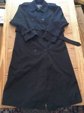 Burberrys Black Double Breasted Belted Trench Coat Womens Sz10 X-Long Excellent