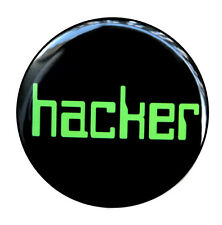 "HACKER - Button Pinback Badge 1.5"" Computer Nerd Geek"
