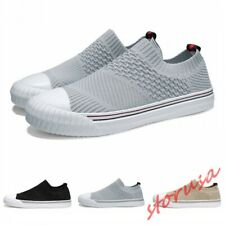 Mens Breathable Fly Knitted Sport Walking Shoes Slip On Casual Sneakers Size6-10
