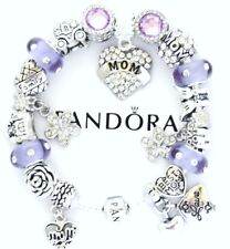 Pandora Charm Bracelet Silver Purple MOM Mother Day Family European Charms NIB