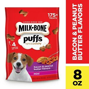 Milk-Bone Puffs Crunchy Dog Treats, Bacon and Peanut Butter Flavor, Mini Size, 8