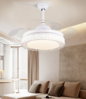 "42"" Modern Retractable Blades LED Ceiling Fan Light Remote Control Chandelier"