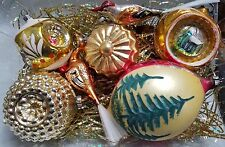 7 VINTAGE MERCURY GLASS CHRISTMAS ORNAMENTS - GERMANY - GOLD