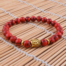 8mm Red Turquoise Stone Energy Bless Bracelet Buddha Beaded Elasticity Bangle