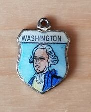 Vintage WASHINGTON USA silver enamel travel bracelet souvenir shield charm