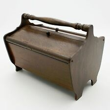 Vtg Wood Flip Dual Top Sewing Storage Box Basket Tote Cabinet Wooden Caddy
