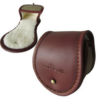 "Tourbon Fly Fishing Reel Pouch Cover Rod Spool Case Leather 3"" Vintage Brown"