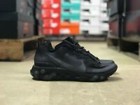 Nike React Element 55 Mens Running Shoe TRIPLE BLACK BQ6166-008 NEW Multi Sz