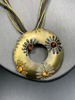 "Vintage Gold Tone Glass Amber Rhinestone  Pendant Necklace Bohemian 14"""