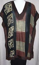 "Vintage Plus Size Cotton Tunic 60""BUST Ethnic Print Tabbard HIPPY Sheer Longline"