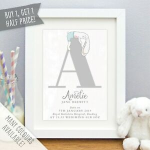 Personalised New Baby Print Bunny Rabbit Initial Birth Details Christening Gift