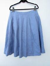 Talbot's NWT Womens 10 Blue Pleated Full 100% Linen Skirt DC1