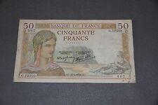 FRANCE P.85b 50 Francs 1940 World War Two!