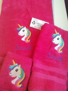 Rainbow Unicorn Face Personalized 3 Piece Bath Towel Set  Any Color