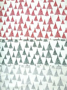 "Christmas Trees Natural Linen Xmas Fabric Christmas Cotton Fabric 44"" Wide"